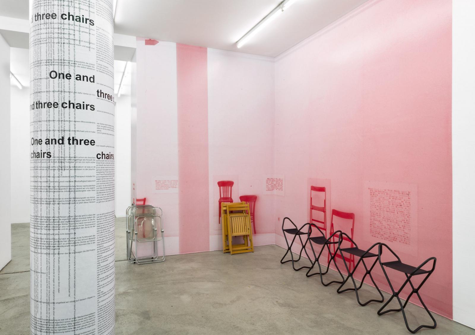 """One and three chairs"" (installation view, 2017) Photo: Iris Ranzinger; Courtesy Gabriele Senn Galerie  ""One and three chairs"" curated by Sabine Schaschl and Michael Riedel,  Gabriele SennGalerie"