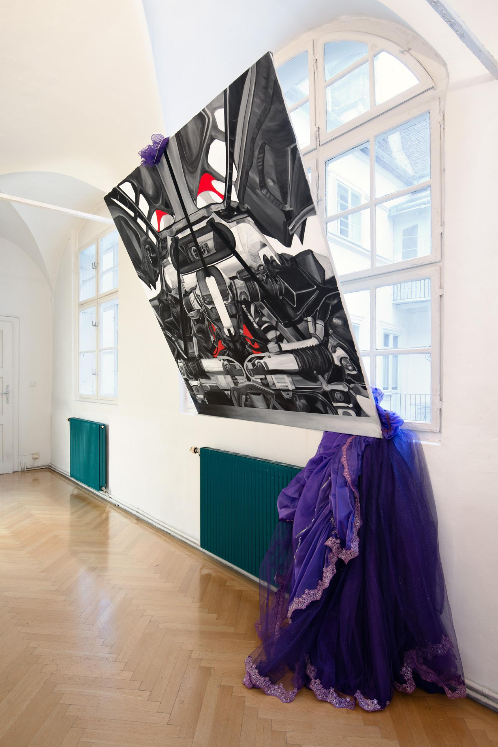 "Lucia Elena Průša, Manuel Solano, Ulrike Buck, Debora Delmar Corp, Frieda  Toranzo Jaeger ""Merlin"" (2016); installation view at SORT"