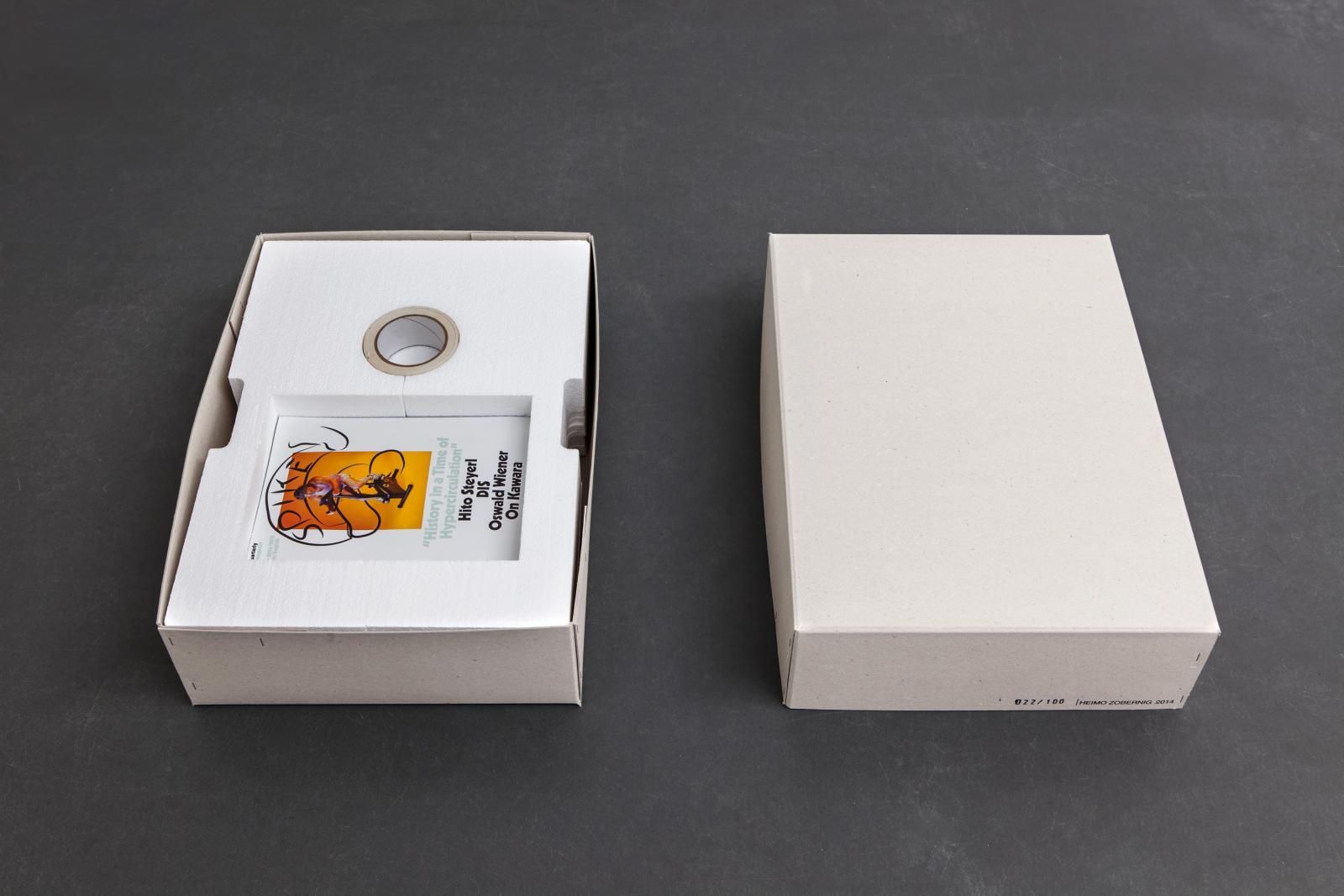 "Left: *Rob Pruitt, */""USE THIS TAPE TO: JOIN 2 THINGS TOGETHER  FOREVER"", 2014/"