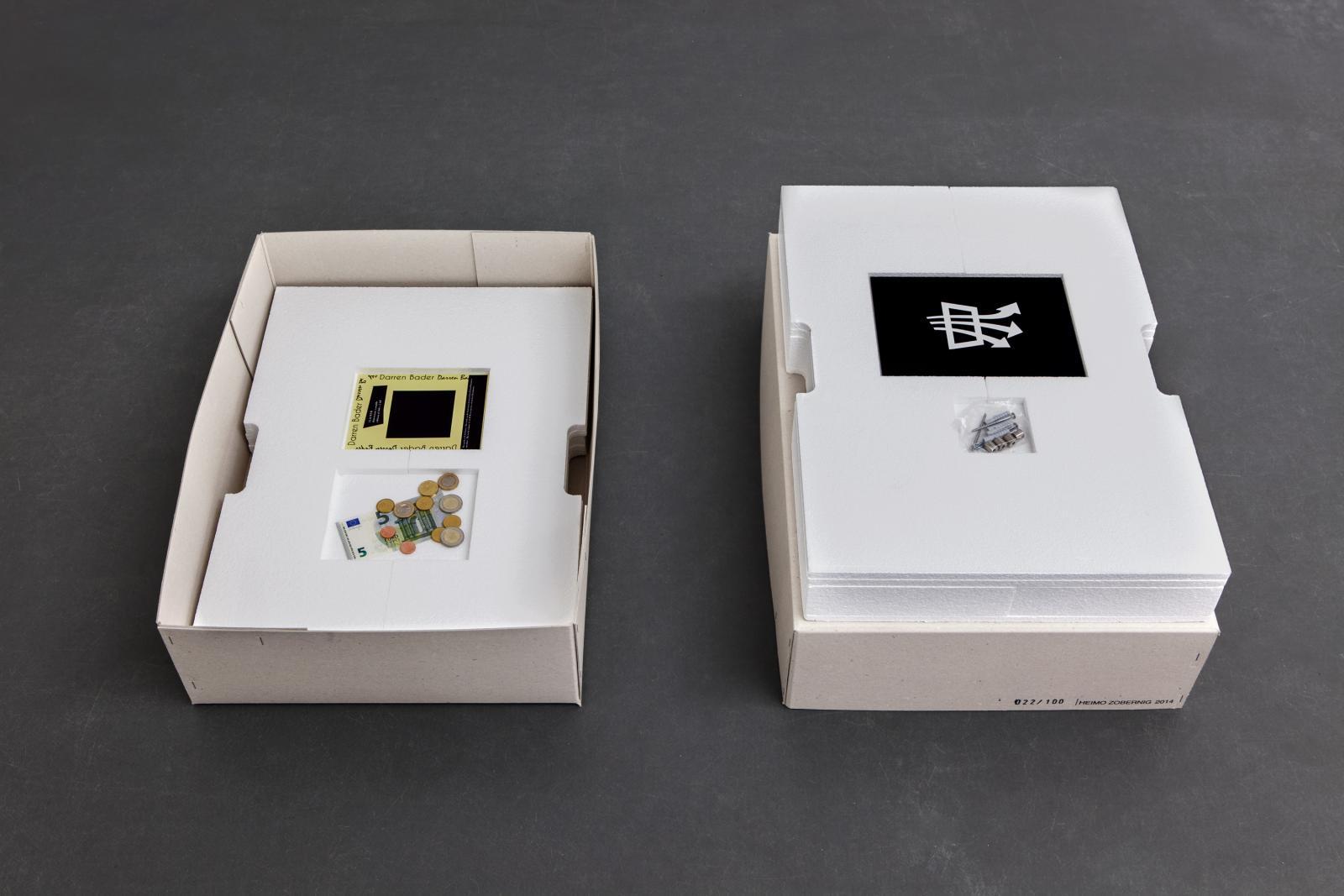 "Left:*Darren Bader,*/""11.62 EUR""/  Right:*Sylvie Fleury,*/""CAMINO DEL SOL"", 2014/"