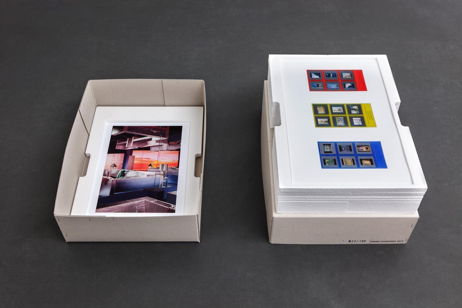 """Left:*Samara Golden,*/""""Mass Murder, blue room #1"""", 2014/  Right:*Jonathan Monk,*/""""The Windows of The Museum"""", 2014/"""