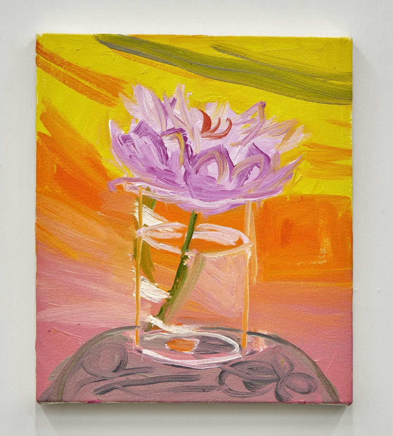 Ann Craven, /Sunset Peony, Again (Last One for Real, in a Glass, Guilford,  6-18-20), 2020/, 2020, oil on linen, 35.6 × 30.5 cm