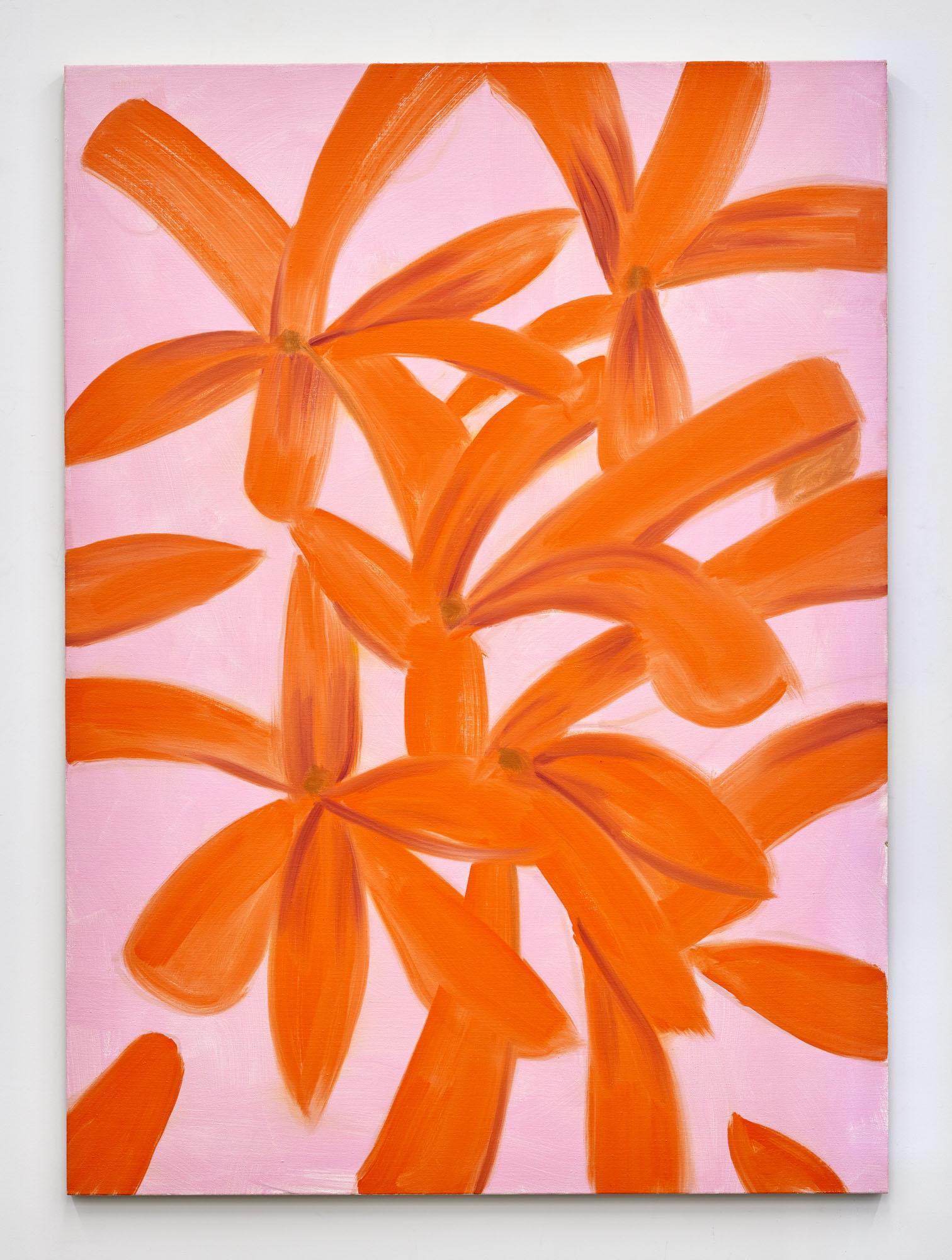 Alex Katz,/Untitled, orange-pink/, 2019, oil on linen,167.64 × 121.92 cm