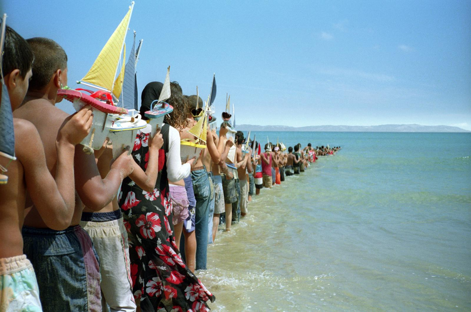 Francis Alÿs /Don't Cross the Bridge Before You Get to the River Strait of Gibraltar/  (2008); video still