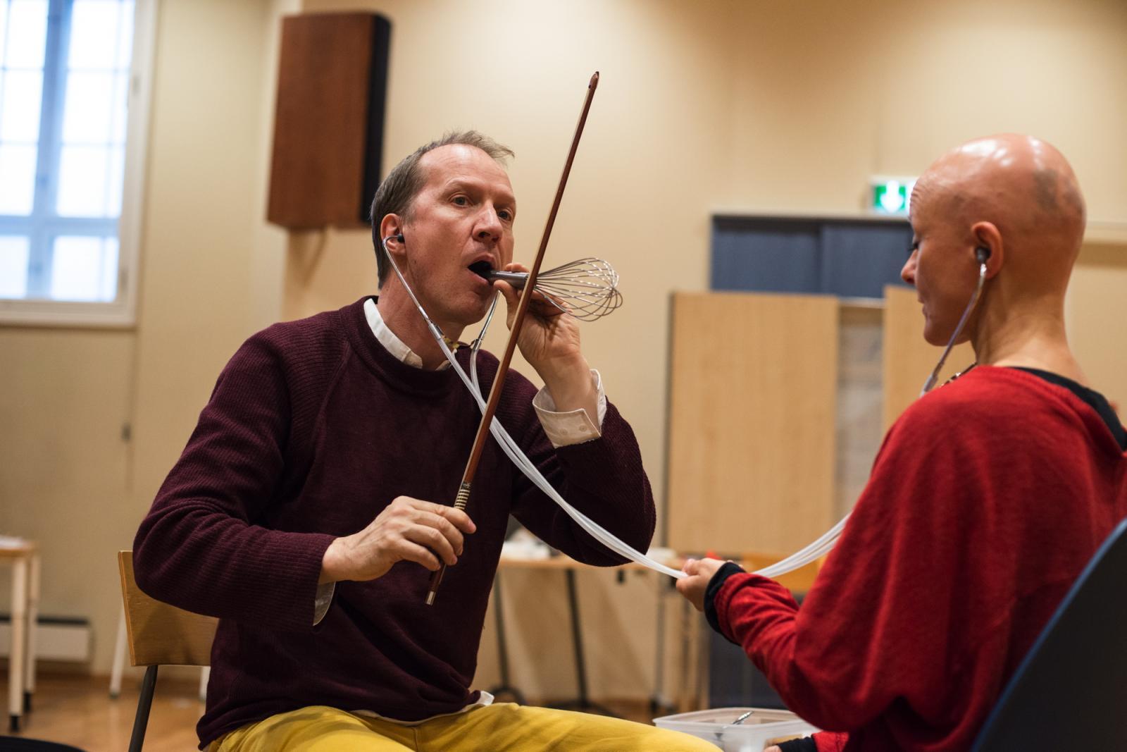 Tarek Atoui /Sound Massage Workshop/ with Thierry Madiot at Grieg Academy, University of  Bergen Photo: Thor Brødreskift