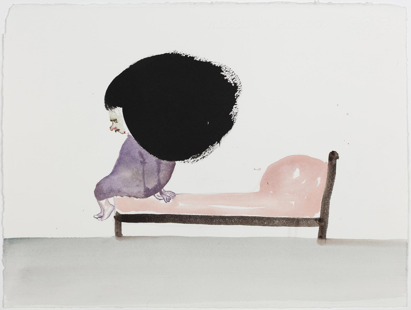 Sanya Kantarovsky,/Dick Bed/, 2020, Watercolor and ink on Arches, 28.6 x  37.5 cm