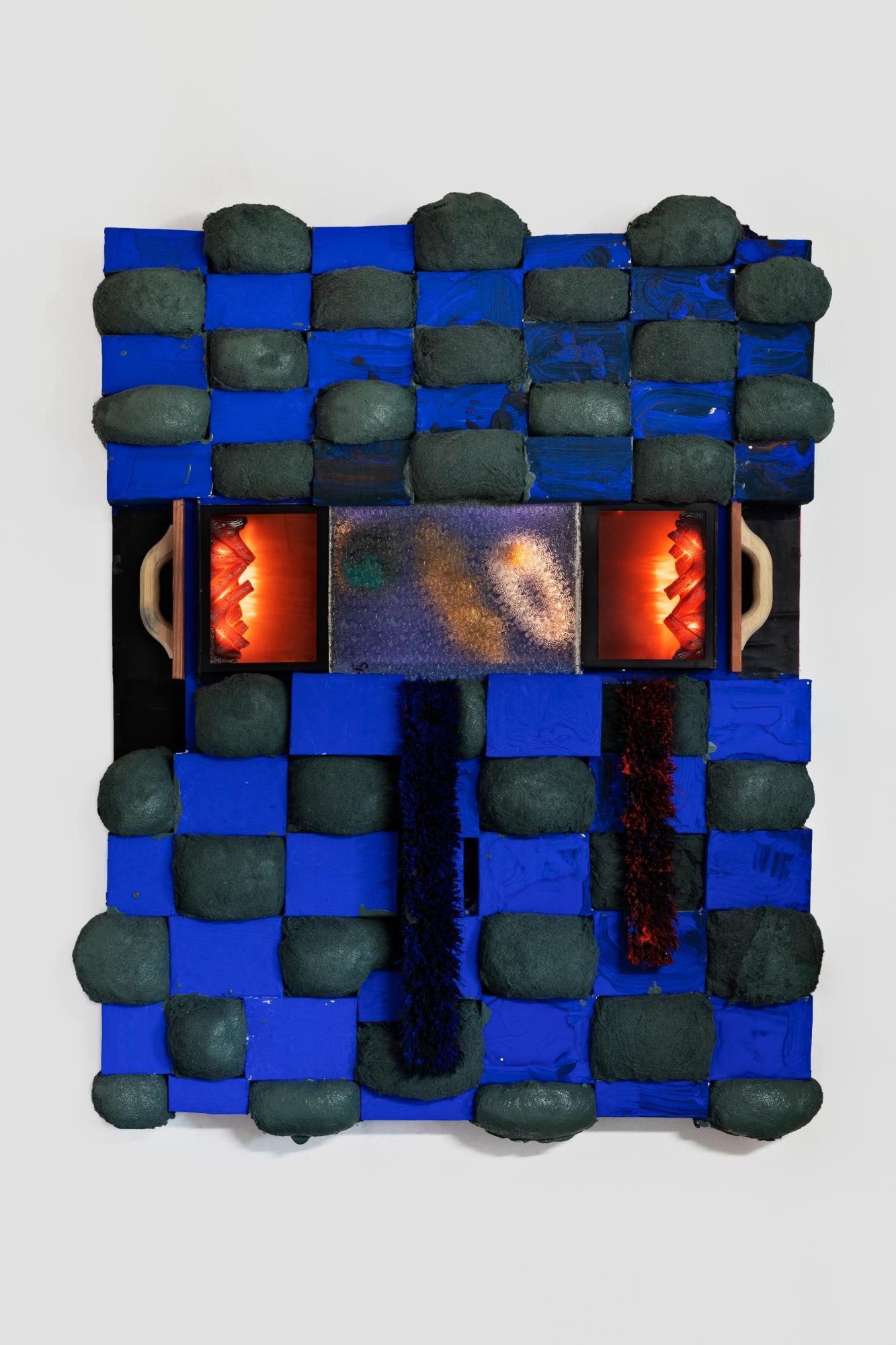 Brian Belott./Silent Movie/, 2020, cotton batting, colourfast paper,  acrylic paint, matte medium, faux fireplaces, brushes and handles  168×122cm