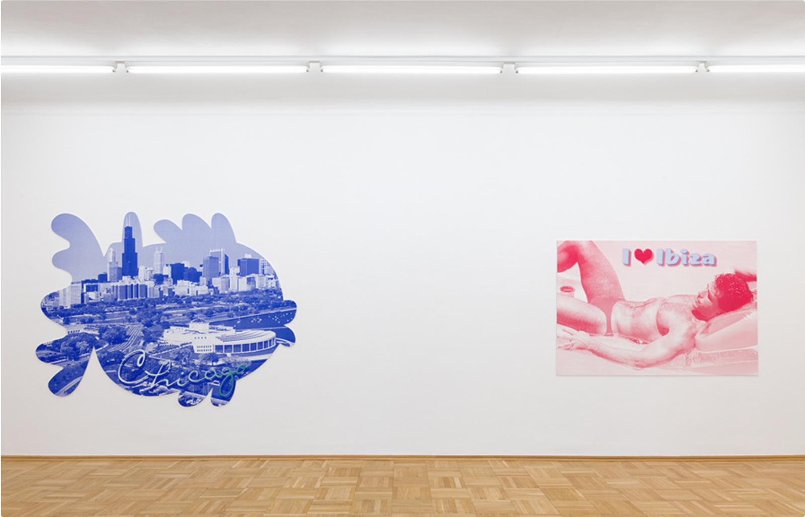 "Katharina Fritsch /1. Postkarte (Chicago) /(2001/2002, left) /7. Postkarte (Ibiza)/ (2007, right) Photo: Nic Tenwinggenhorn; Courtesy Matthew Marks Gallery  ""Chicago, Ibiza etc."" curated by Robert Fleck, Galerie nächst St. Stephan  Rosemarie Schwarzwälder"