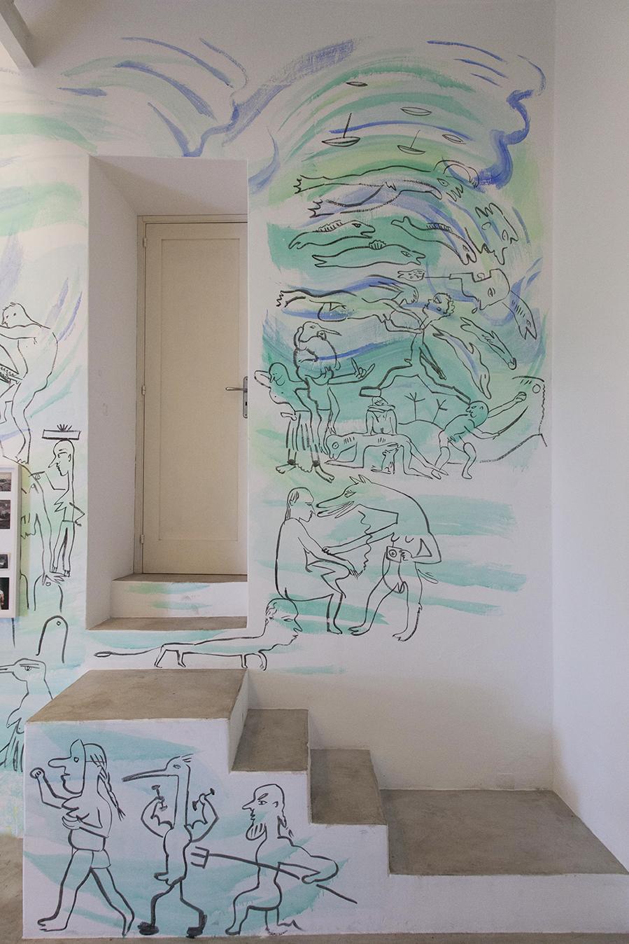 "Mural by Camille Henrot Installation view ""I Will Go Where I Don't Belong"" Photo:Giovanna Silva Courtesy Fiorucci Art Trust, London"
