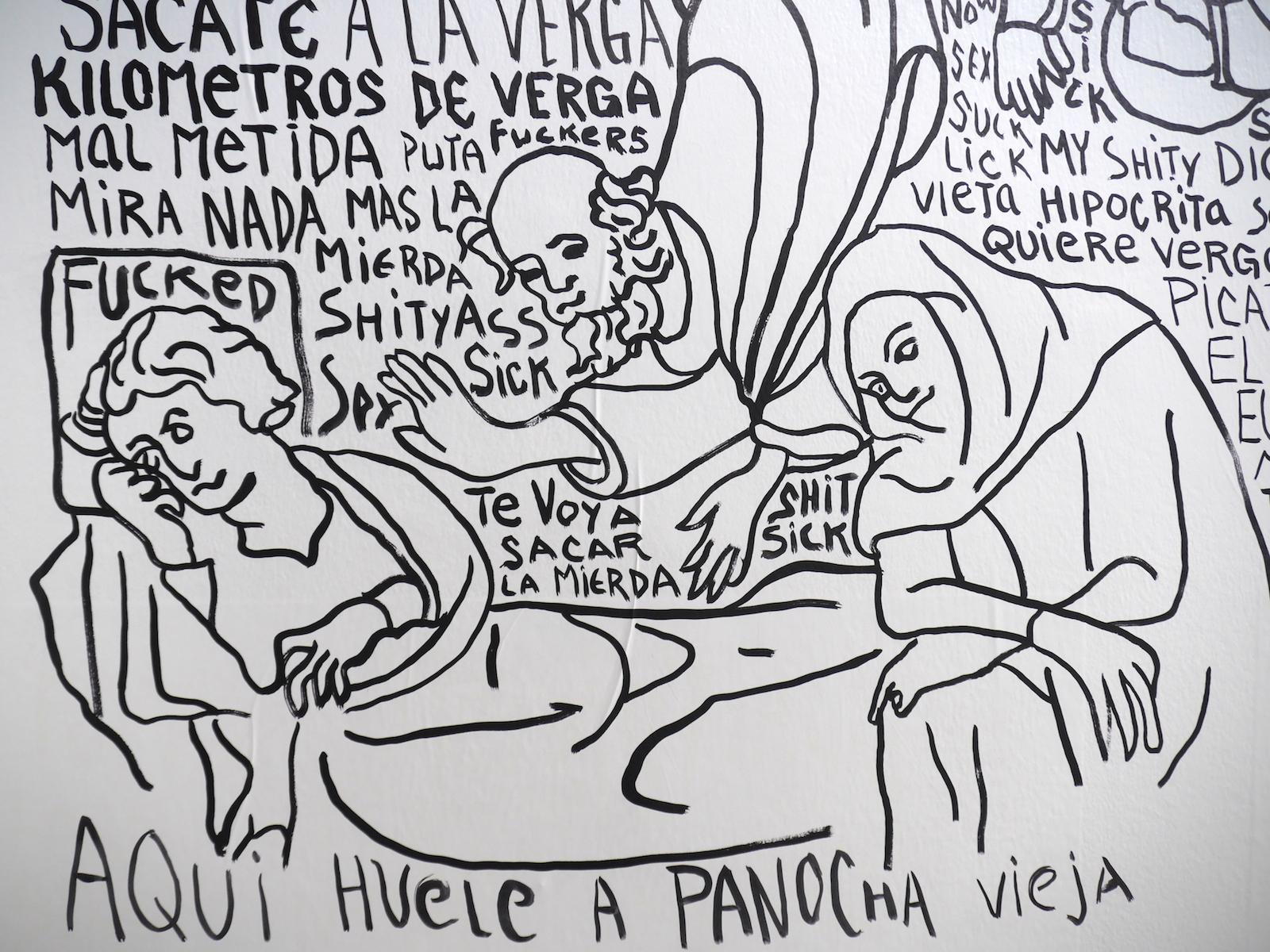 """Carlos Amorales /Learn to Fuck Yourself/(2017) Courtesy the artist and kurimanzutto, Mexico City  """"Während Herr Schulze liest, fährt der Balkanzug über die Brücke bei  Nisch, ein Schwein jammert im Keller des Schlächters Nuttke."""" curated by  Adrian Christopher Notz,Knoll Galerie Wien"""