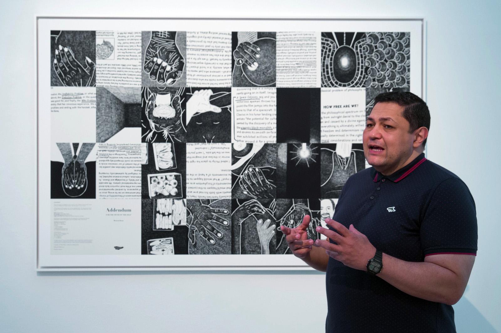 Curator Bassam El Baroni at Charim Galerie Photo:eSeL