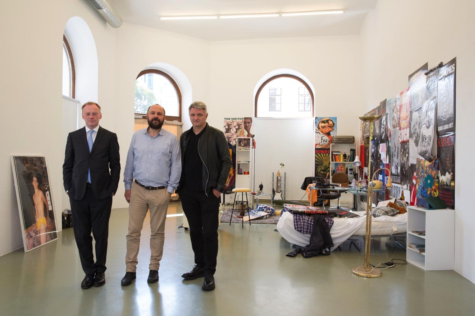 Galerie Crone'sAndreas Osarek and Markus Peichl with curatorDirk  Schönberger Photo:eSeL