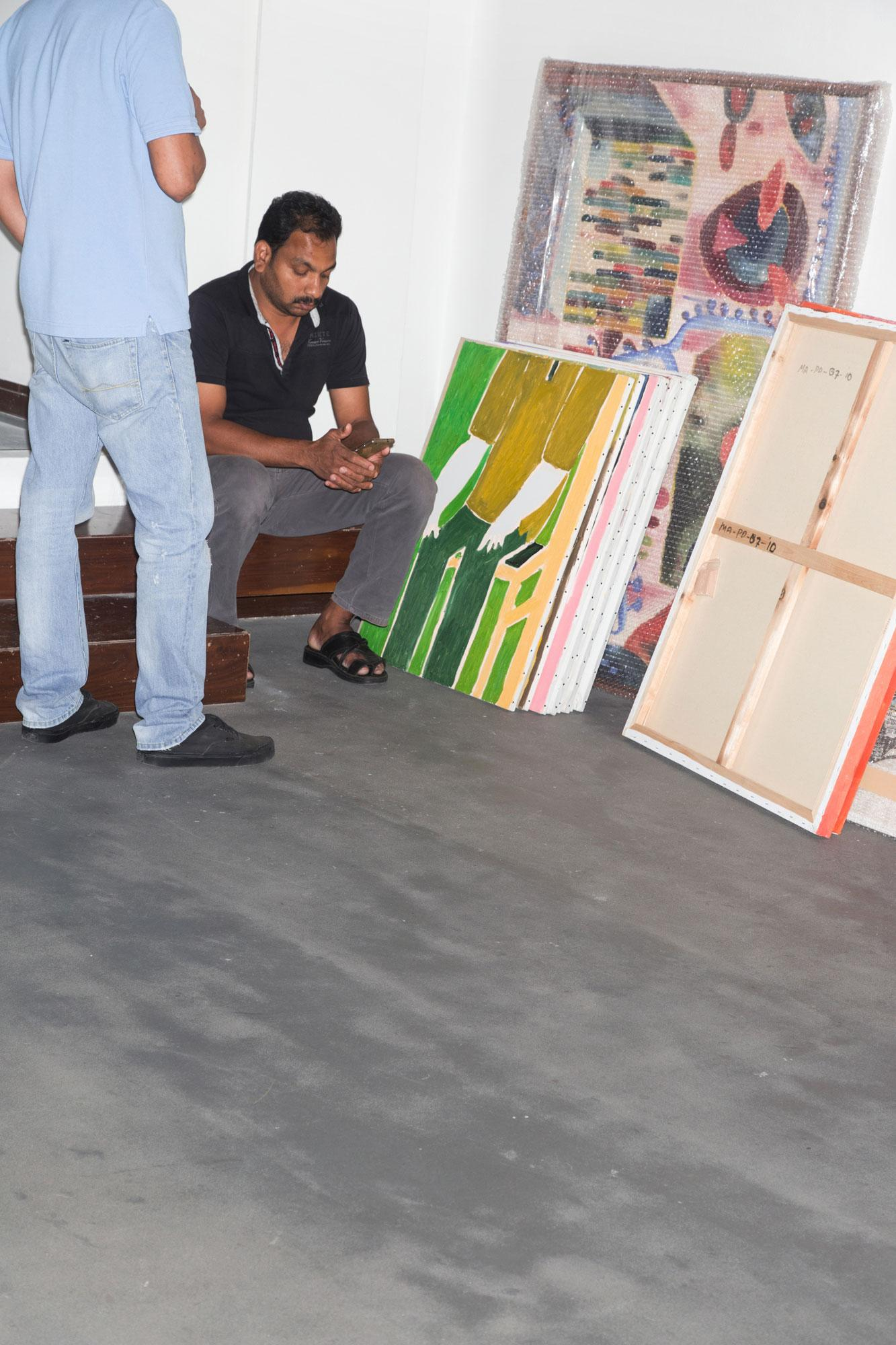 Installing Mohammed Ahmed Ibrahim's exhibition /Primordial II/atCuadro  gallery
