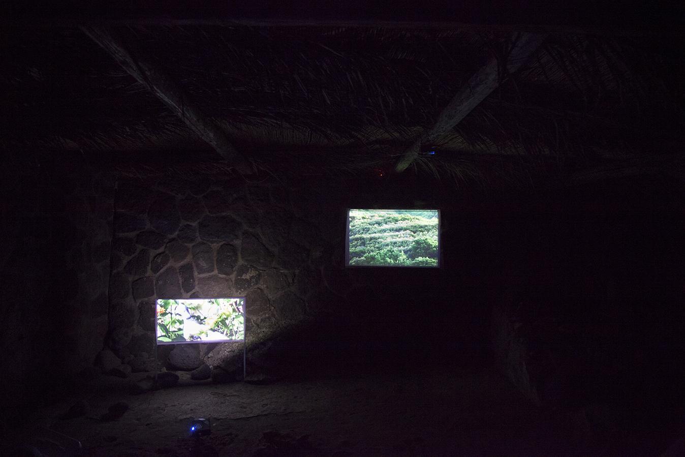 Martin Murphy /Arrivo di Aimée/, 2016 Two-channel video projection with sound, ft.Aimée Carmoz, 9:25 min Photo:Giovanna Silva Courtesy Fiorucci Art Trust, London