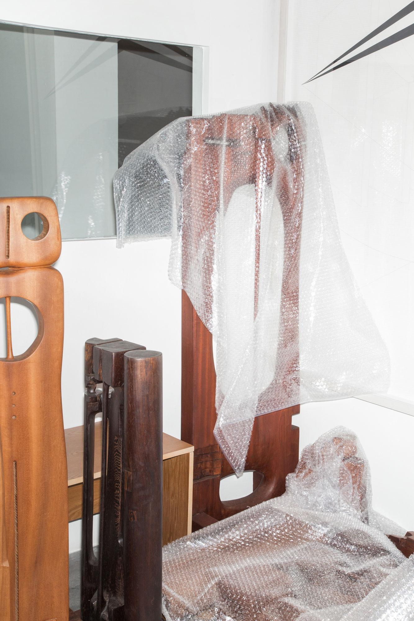 """Chaouki Choukini's exhibition """"Poetry in Wood""""//atGreen Art Gallery  during installation"""