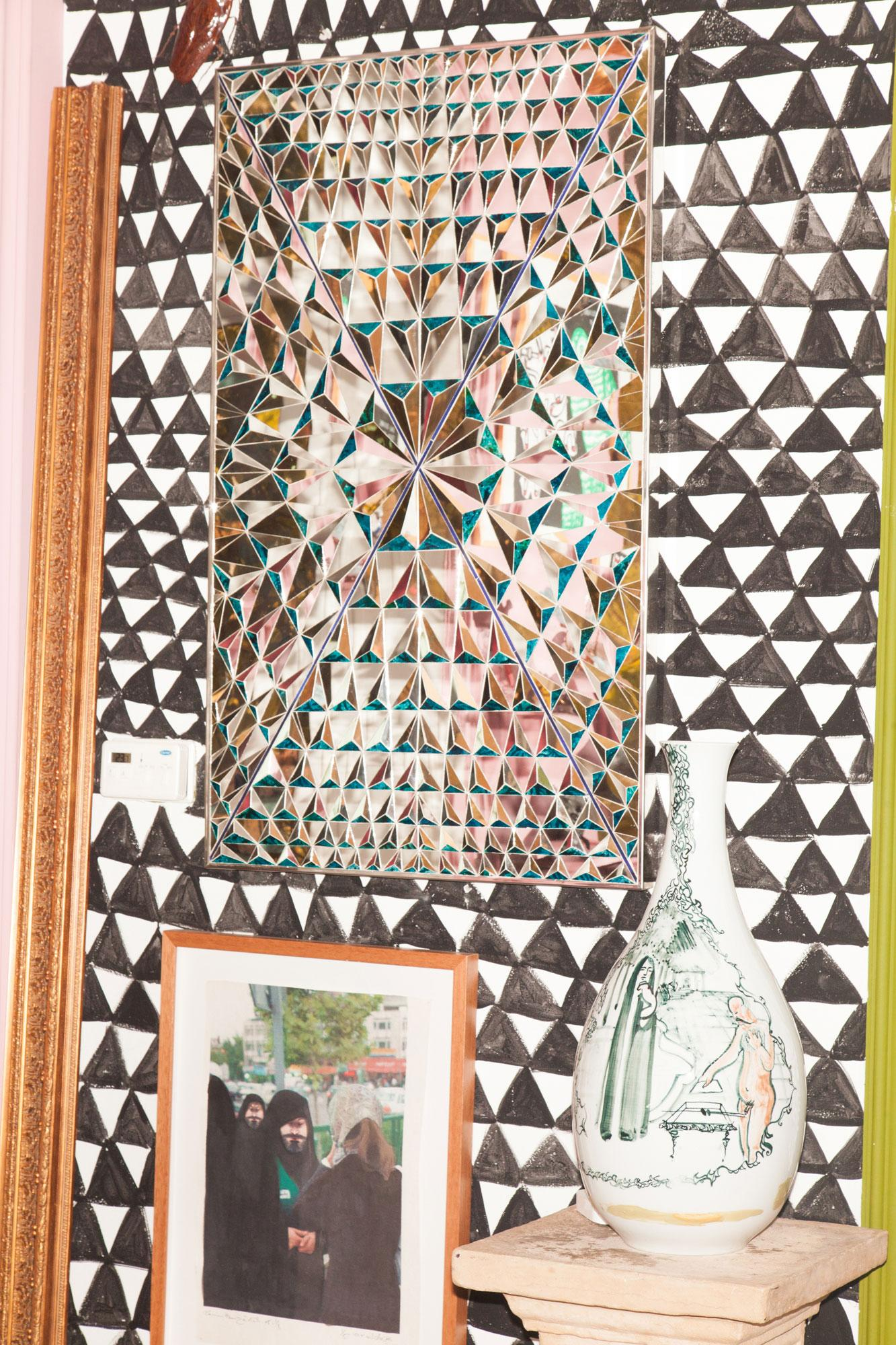 From top: Mirror work by Monir Shahroudy Farmanfarmaian Collage by Ramin Haerizadeh Meissen Porcelain vase by Rokni Haerizadeh