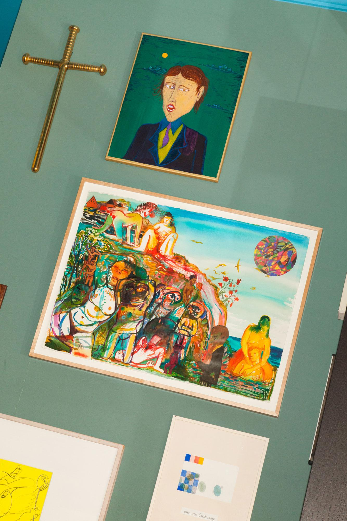 Top, left: /Memorial Cross for Pope Urban VI /by Shahpour Pouyan Top, right: Painting by Abel Auer Middle: Painting by Nicole Eisenman