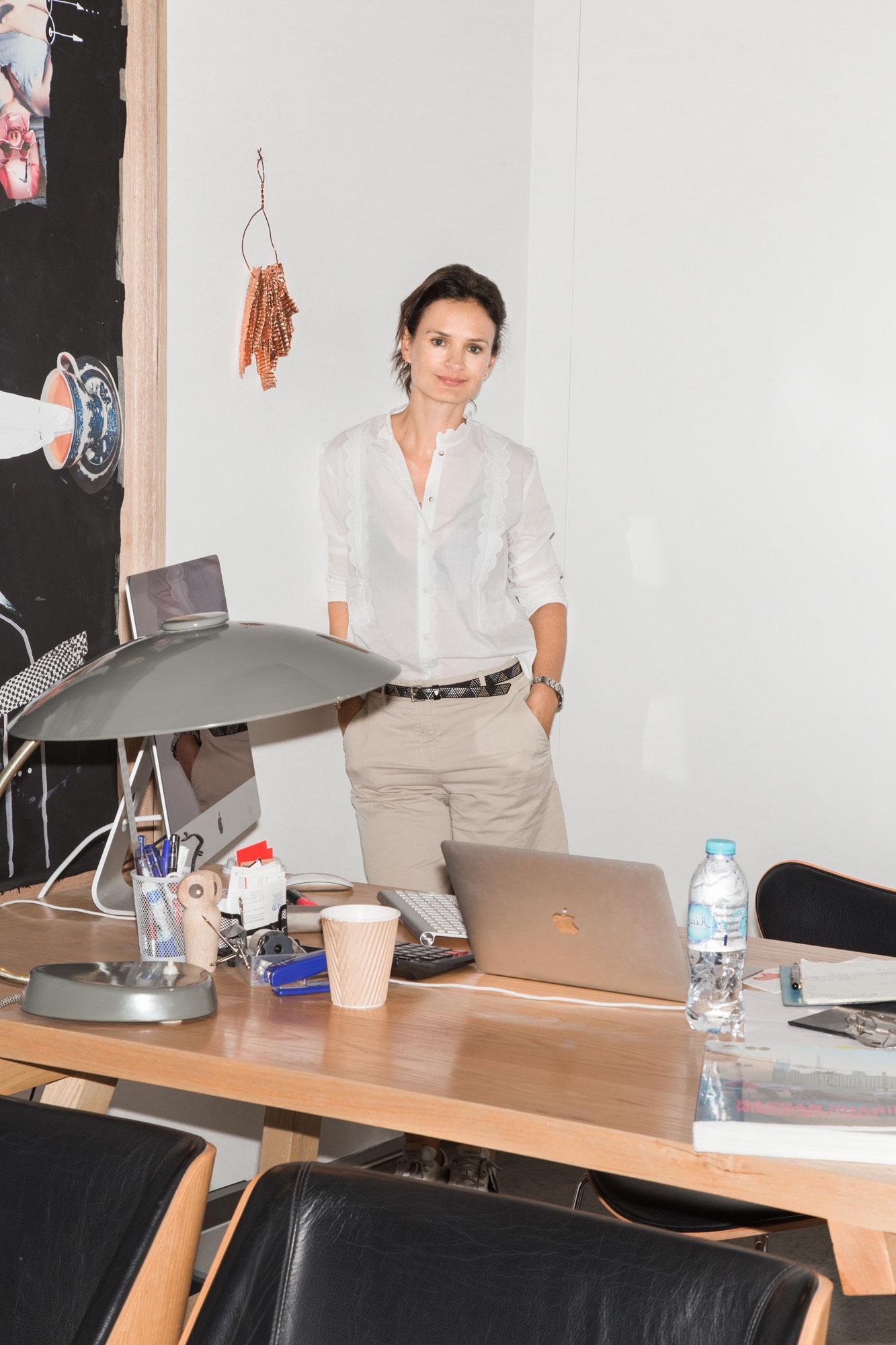 Isabelle van den Eynde, founder and director of Gallery Isabelle van den  Eynde  Wall:/Copper No 12 /byHassan Sharif