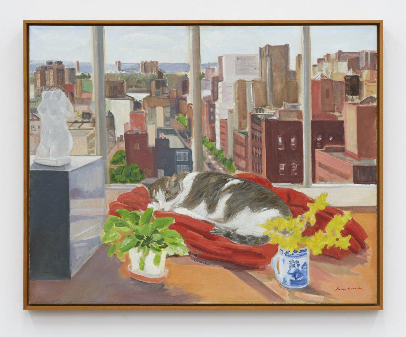 Jane Freilicher,/Cat on Velvet/, 1976, oil on canvas, 81.28 × 101.6 cm