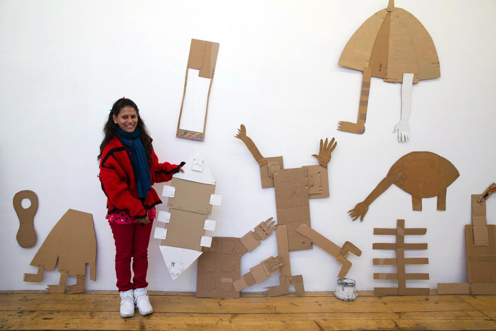 Rini Mitra in front of her artworks Krinzinger Projekte curated byDiana CampbellBetancourt Photo:eSeL