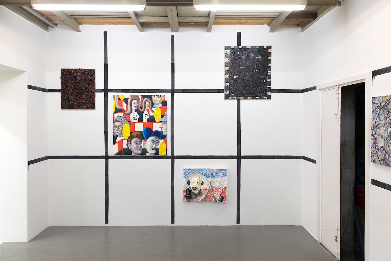 """The Happy Fainting of Painting #2"" (installation view, 2017)  Curated by Hans-Jürgen Hafner and Gunter Reski, Galerie Krobath"
