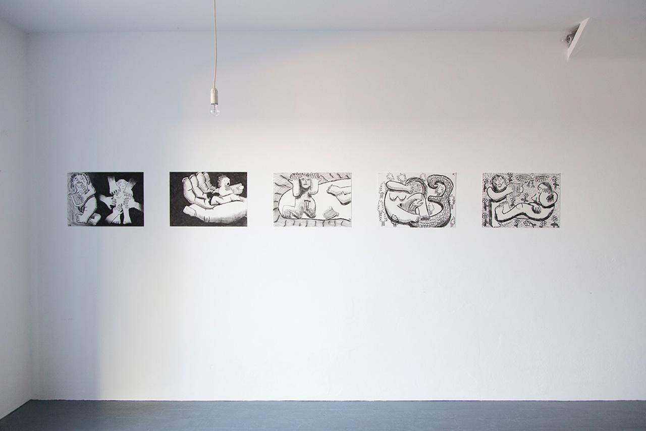 Orfeo Tagiuri  From the series /Orpheus & Eurydice/, 2016 Charcoal on paper, each 60 x50 cm Installation view at La Lunatica Photo:Giovanna Silva Courtesy Fiorucci Art Trust, London
