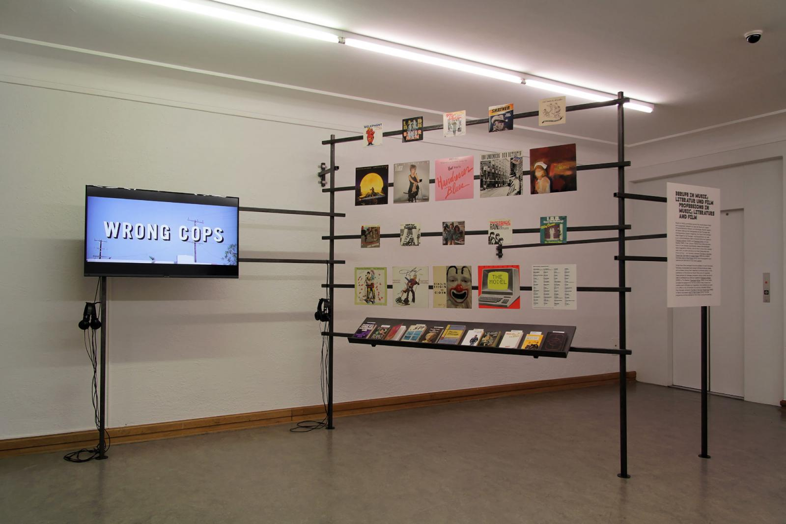 """Installation view """"Professions in Music, Literature and Film"""" section at  Helmhaus Photo: Manifesta 11 / Wolfgang Träger"""