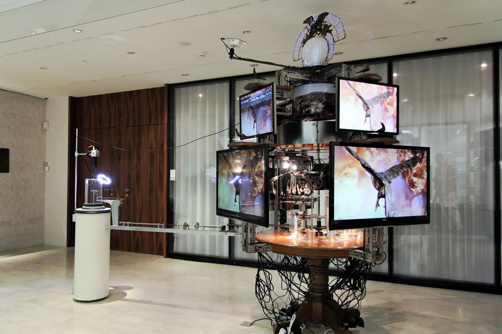 Jon Kessler Installation view /The World Is Cuckoo /at Les Ambassadeurs watch shop Photo: Manifesta 11 / Wolfgang Träger