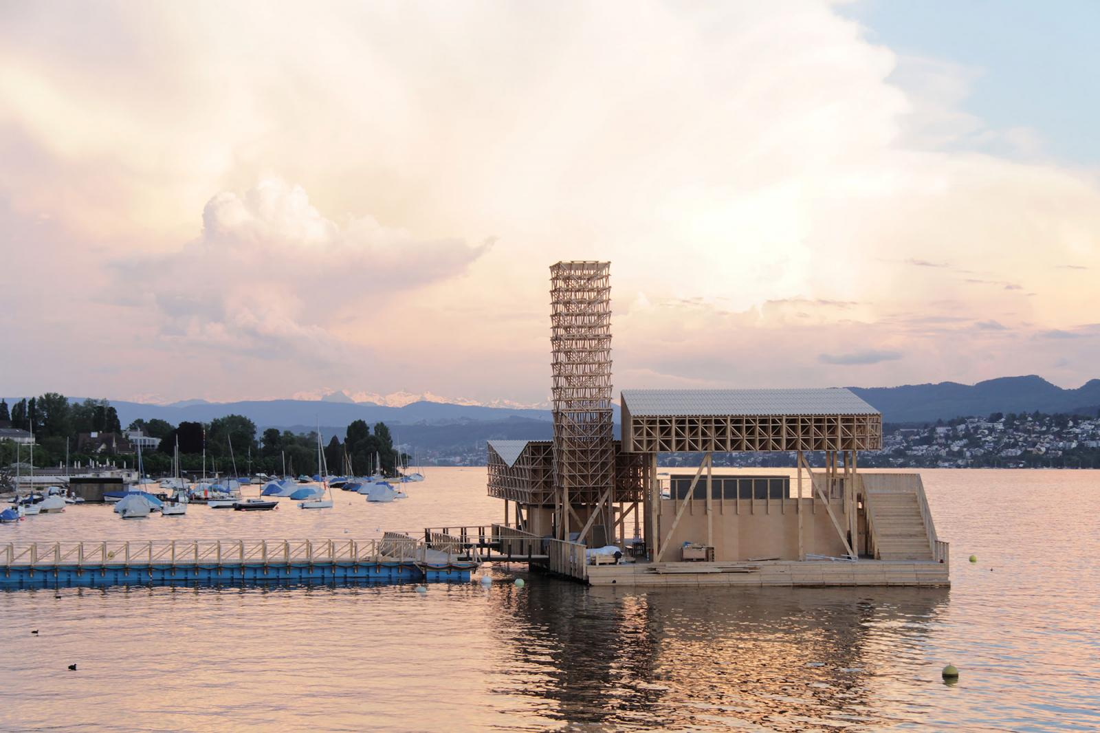 View of the Pavillon of Reflections on Lake Zurich Photo: Manifesta 11 / Wolfgang Träger