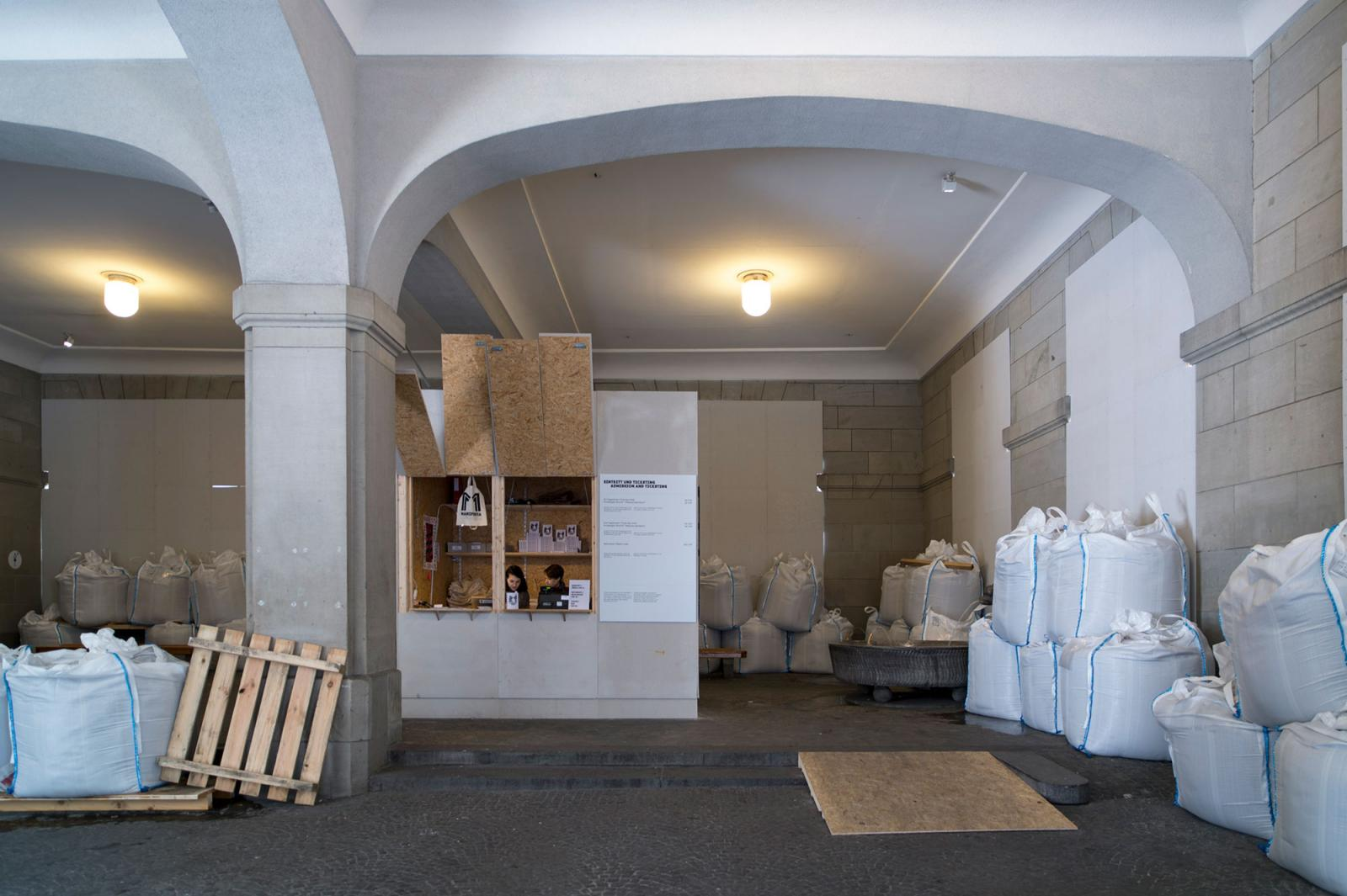 Santiago Sierra Installation view /Protected Building/ at Helmhaus Photo: Manifesta 11 / Eduard Meltzer