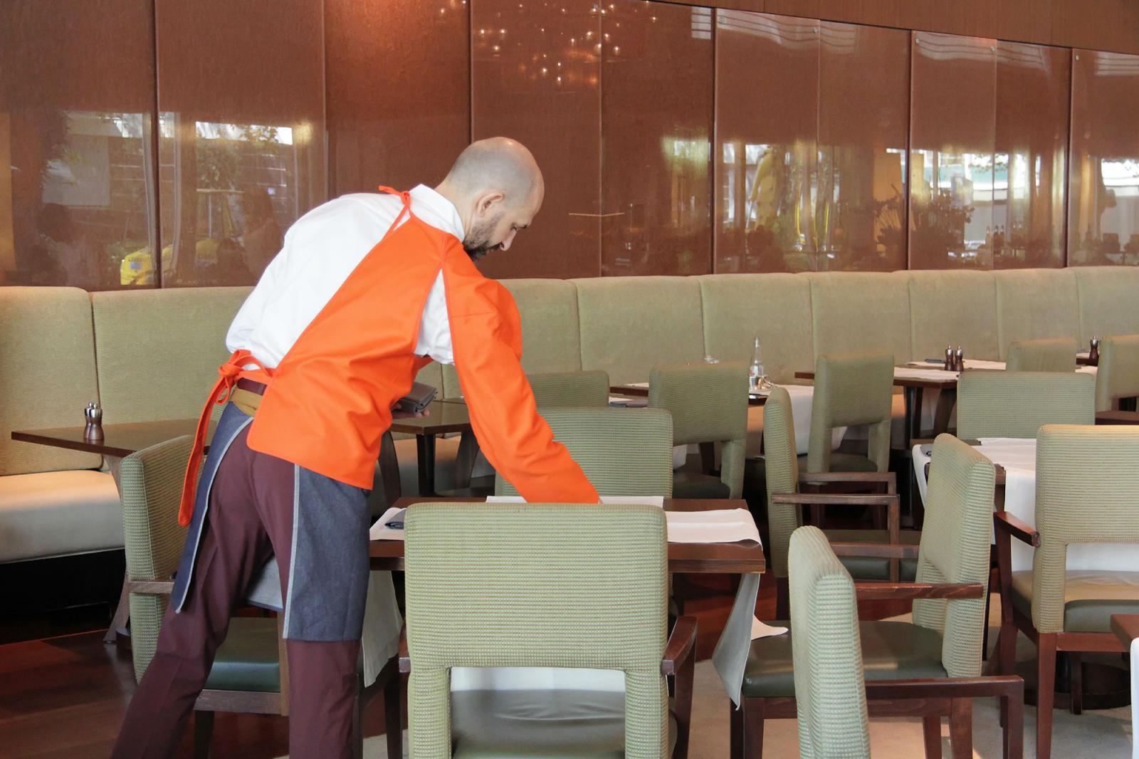 Franz Erhard Walther Installation view/Halved Vest/ atPark Hyatt hotel Photo: Manifesta 11 / Wolfgang Träger
