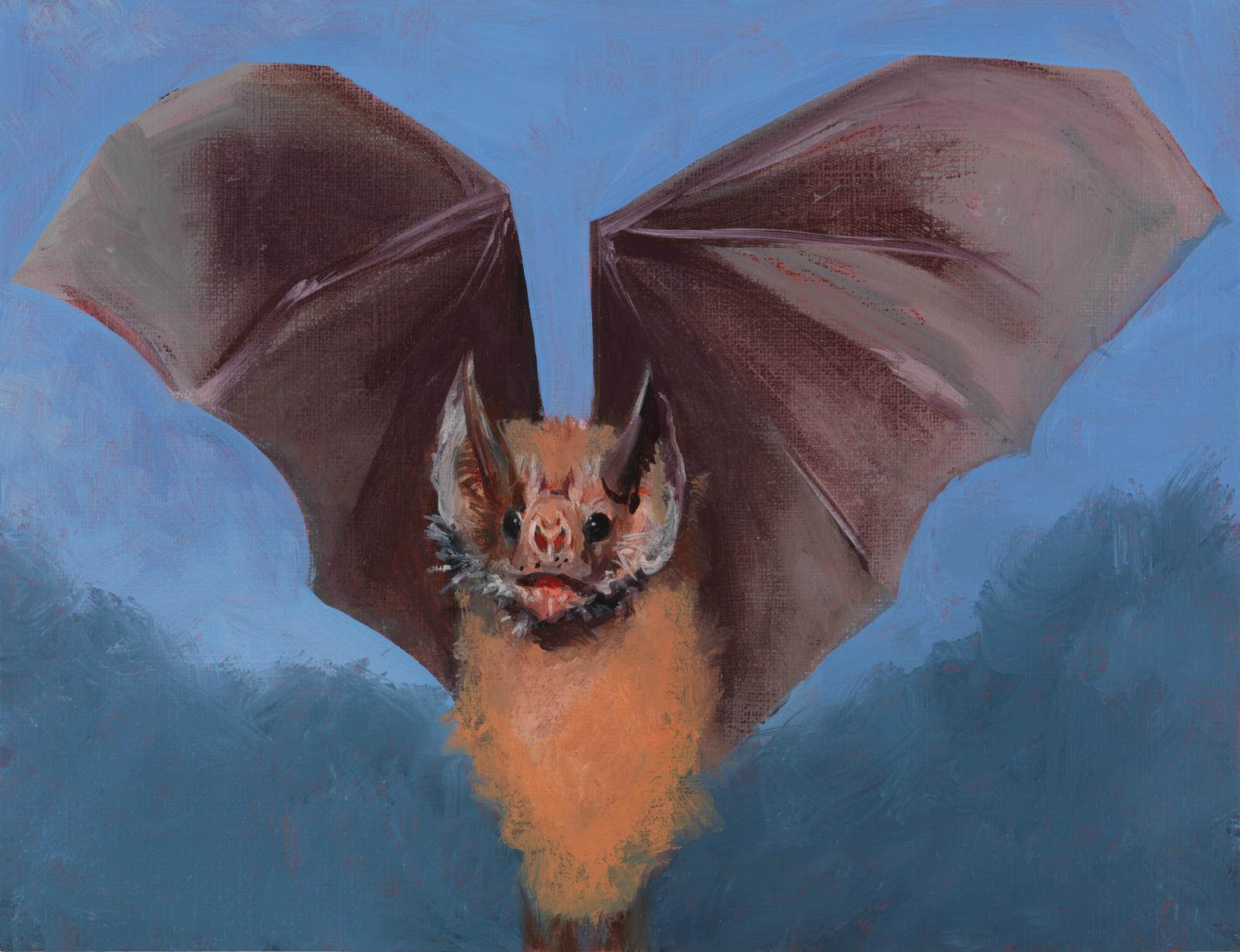 Marvin Gaye Chetwynd /Bat Opera/, 2014 Oil on paper,15.5 x 20.5 cm Photo: Alessandro Zambianchi.Courtesy Massimo De Carlo, Milano/London/Hong  Kong