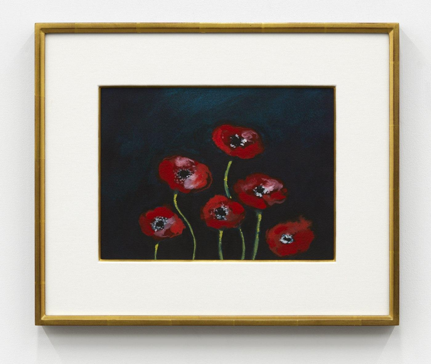 Nicolas Party,/Poppies/, 2020, watercolor on paper, 22.9 × 30.8 cm, 43 .8  × 51.8 cm (framed)