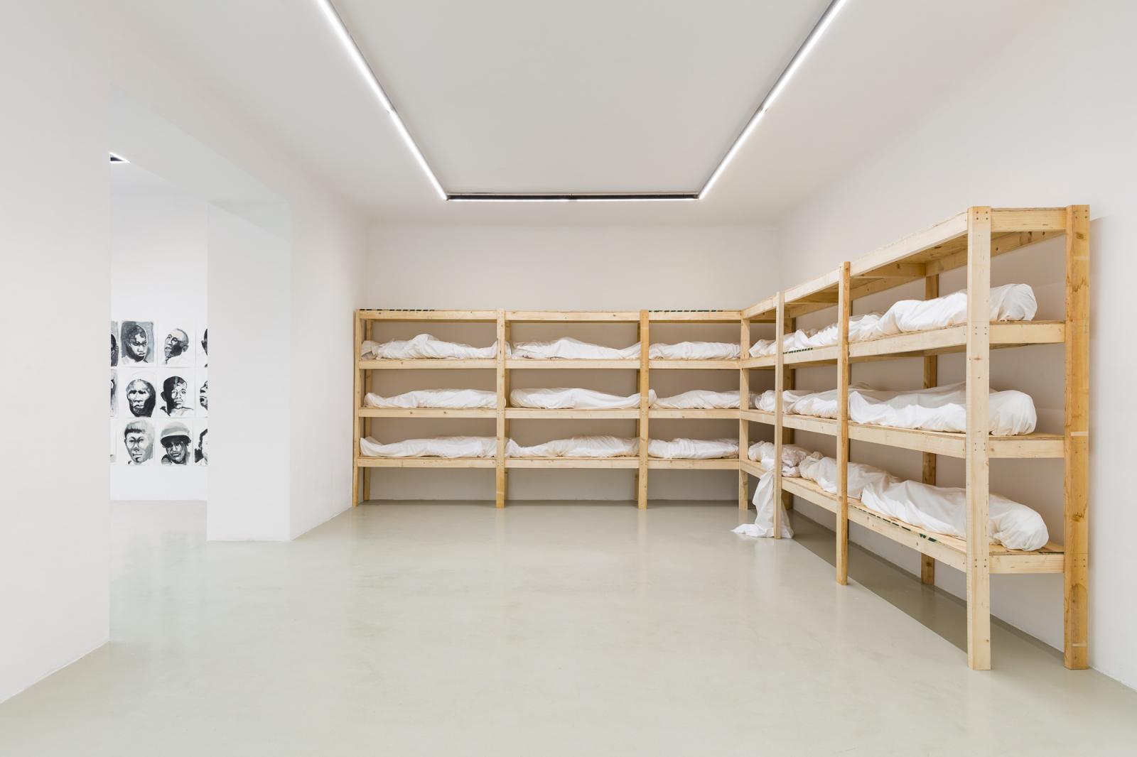 "Galerie Lisa Kandlhofer, curated by Bonaventure Soh Bejeng Ndikung, 2020; Exhibition view, ""Olu Oguibe"", /The Saddness Descends Again/  Photo:Olu Oguibe"
