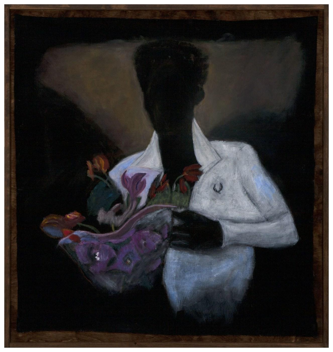 Reggie Burrows Hodges,/Last to Leave/, 2020, acrylic and pastel on linen,  114.3 × 114.3 cm