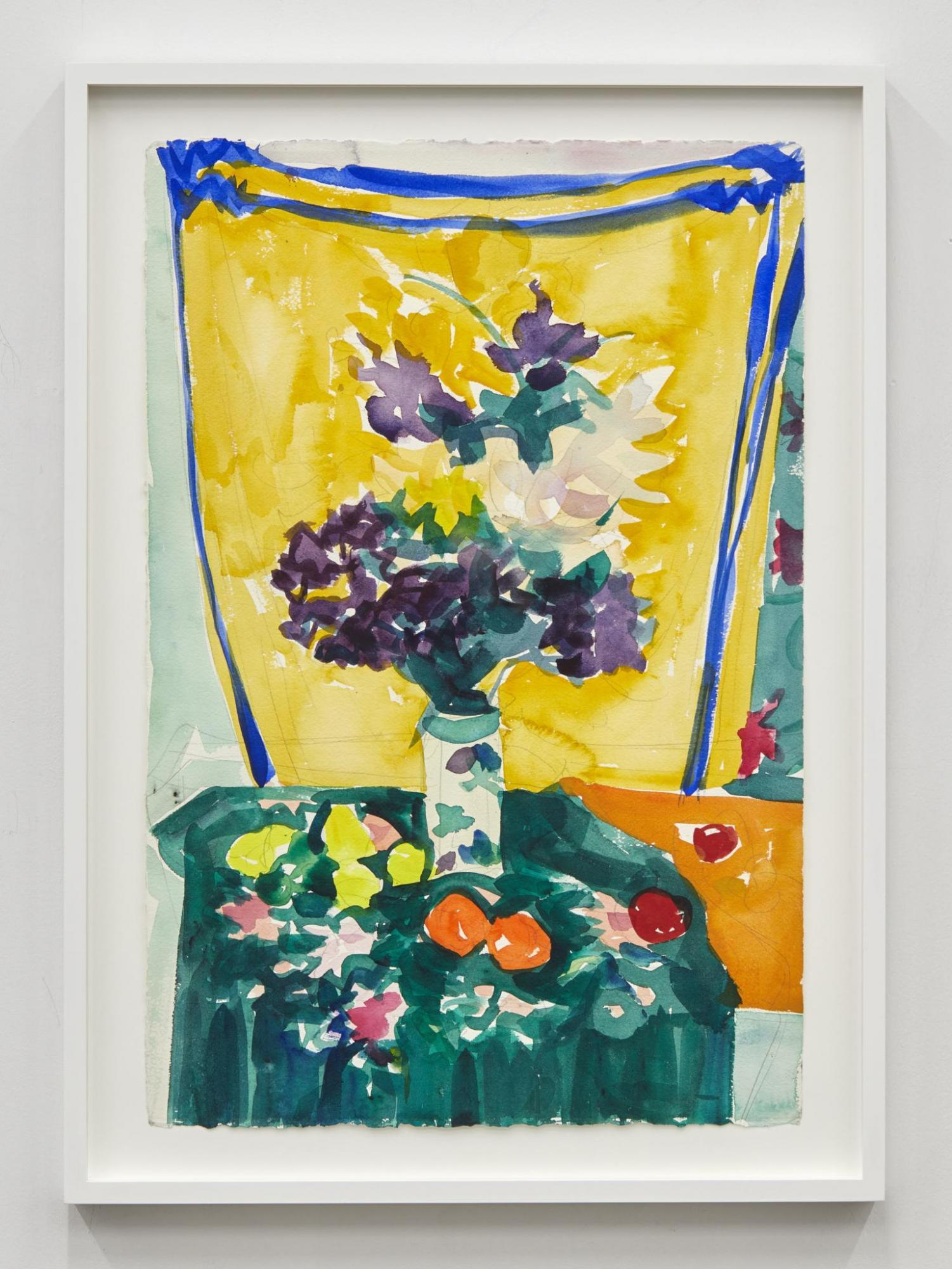 Stephanie Crawford,/Flowers on Tablecloth/, 2016, watercolor on paper,  55.88 × 38.1 cm