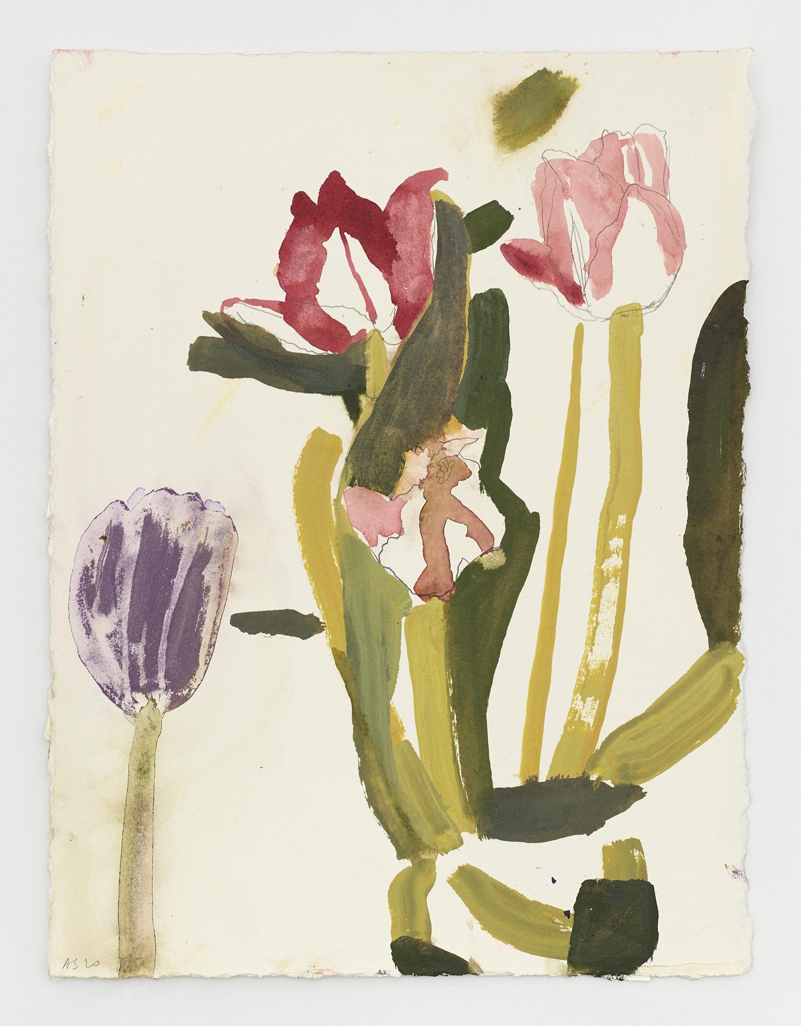 Amy Sillman,/Untitled/, 2020, acrylic on paper, 38.74 × 29.21 cm