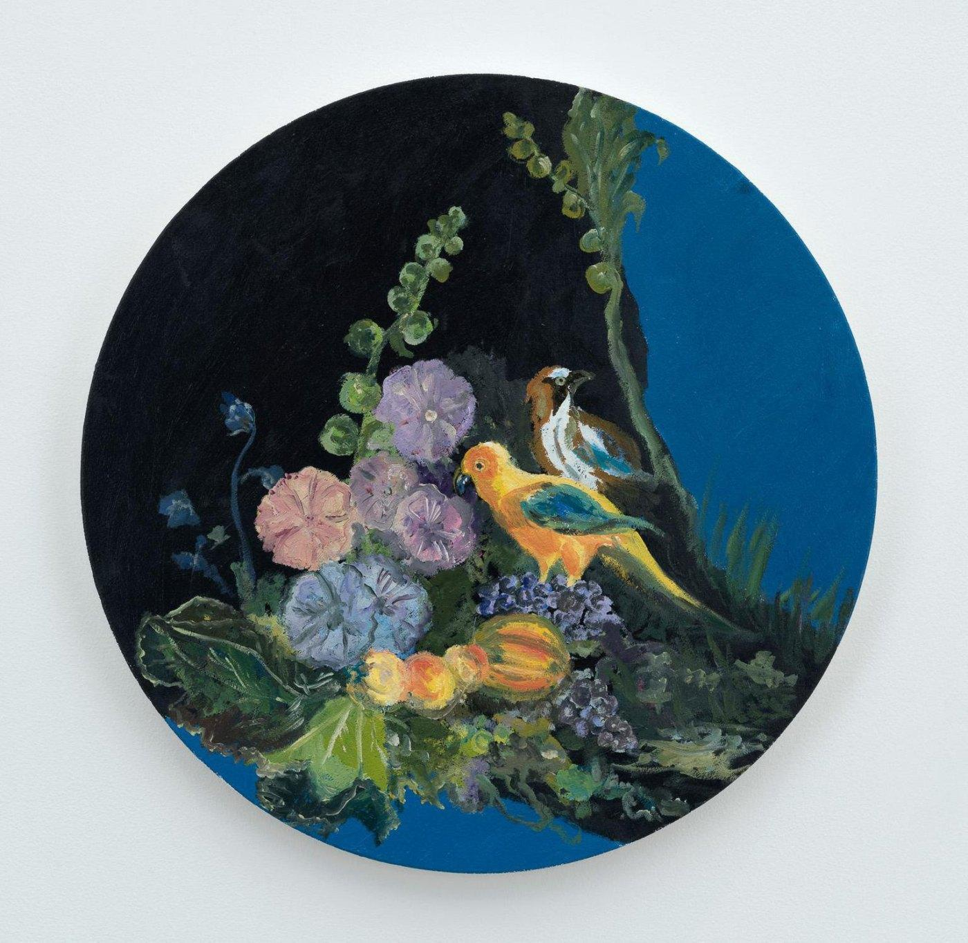 Karen Kilimnik,/guarding the flowers and lunch/, 2017, water soluble oil  color on canvas, 41 cm diameter