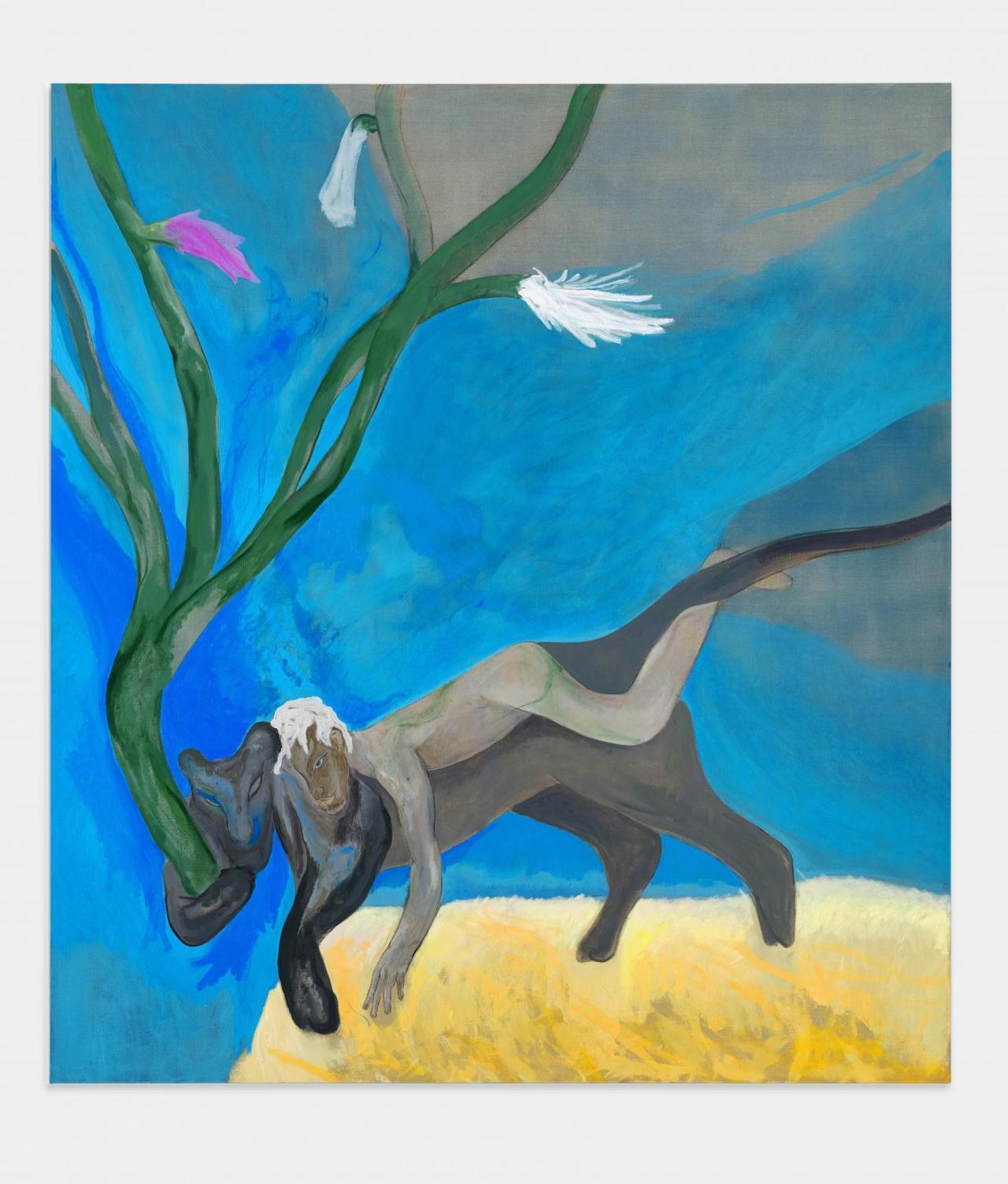 Paolo Salvador, El anda a jaguar , 2021 Painting, oil on linen 200 x 180 cm, courtesy Peres Projects