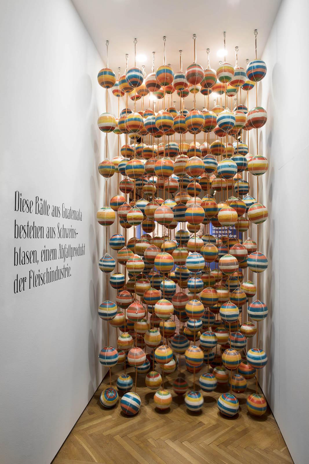 """SAGMEISTER & WALSH: Beauty"" (2018) Exhibition view at MAK Sagmeister & Walsh, painted balls made of pig's bladders(2018) © Aslan Kudrnofsky/MAK"