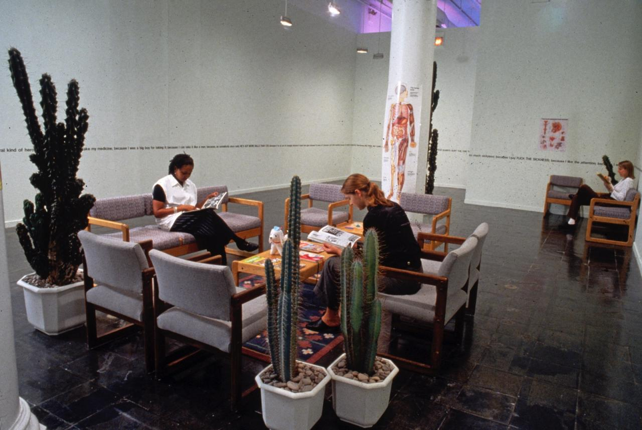 Bob Flanagan, Waiting Room , 1992 Installation view The New Museum of Contemporary Art, New York 1994 Courtesy of New Museum, New York. Photo: Fred Scruton