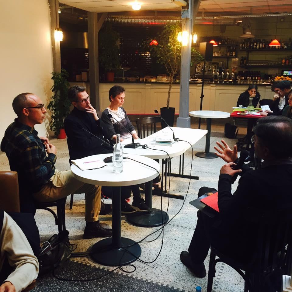 "Lionel Ruffel, Jacob Lund and Margaret Anne Hutton at a panell during ""Theory Now – Réengager la pensée"", November 2016"