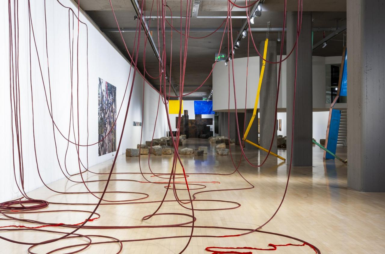 "Installation view, Sheela Gowda, ""It.. Matters""; Lenbachhaus, Munich, 2020"