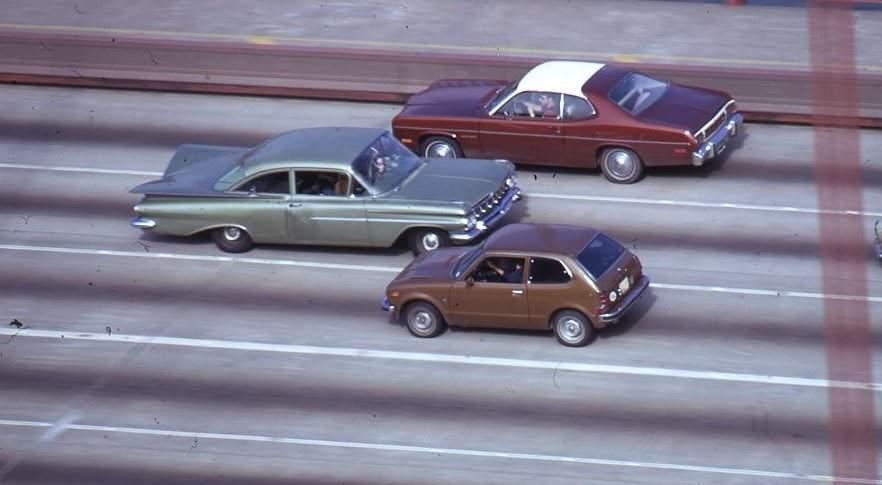Reversed Car , 1973, '59 Chevrolet and mixed media (crossing Golden Gate Bridge)