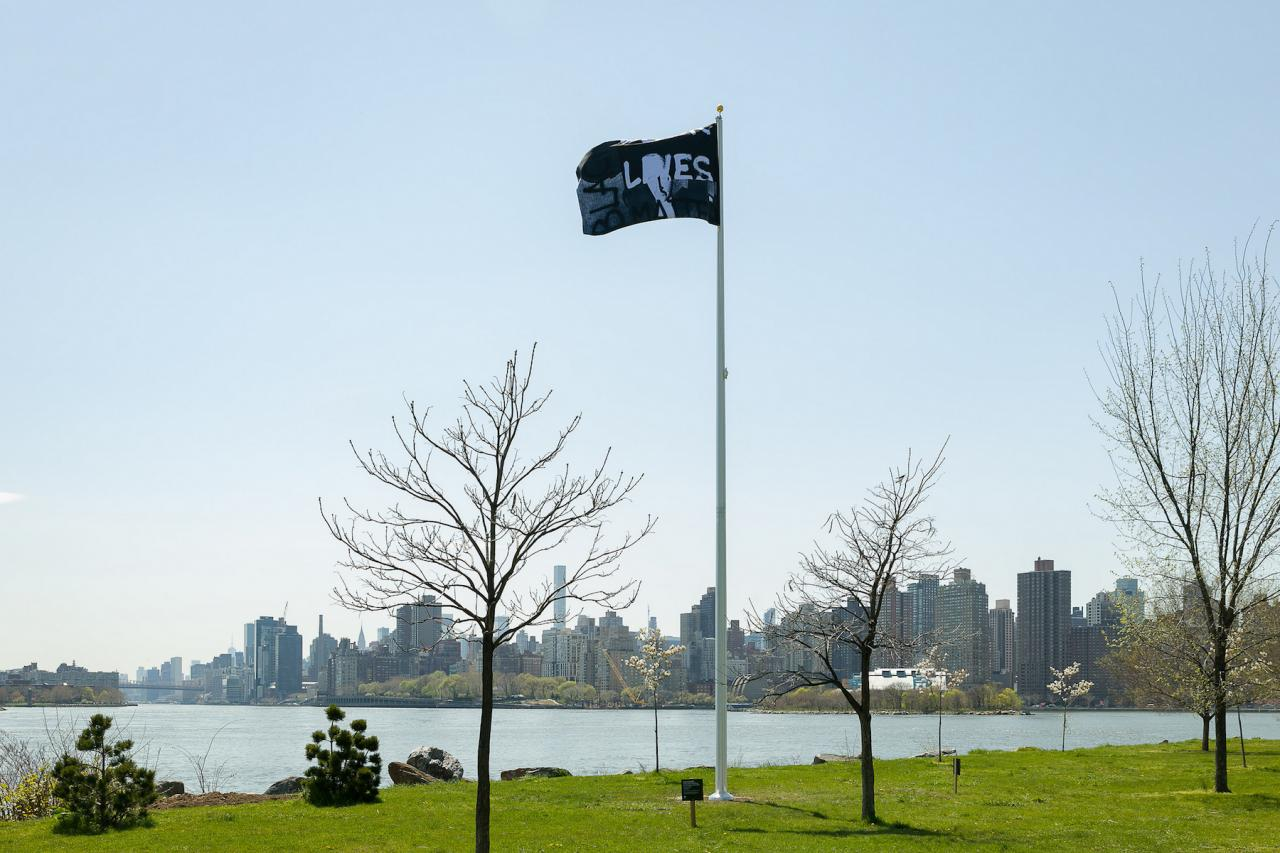 Adam Pendleton Black Dada Flag (Black Lives Matter) , Pace Gallery Photo: Mark Blower, Courtesy Mark Blower/Frieze