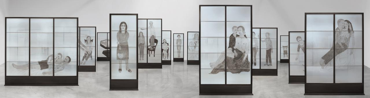 Kiki Smith Pilgrim ( 2007-2010) Leaded stained glass in steel frame Courtesy of the Artist and Pace Gallery