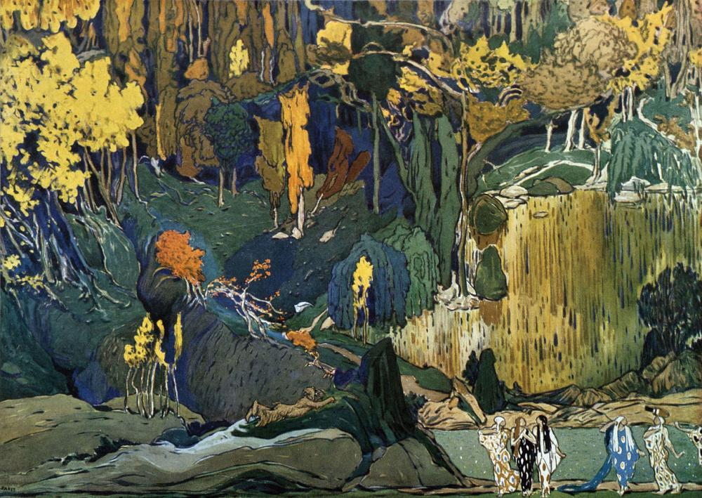 L'après-midi d'un faune (The Afternoon of a Faun),  ballet set design, Lev Samoilovich Bakst (Leon Bakst), 1912, 105×75 cm, gouache and pencil on paper