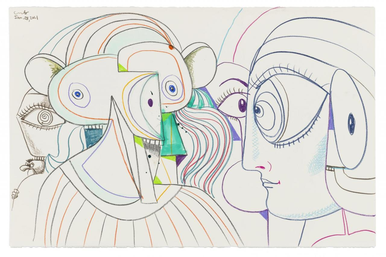 George Condo, Double Portrait Composition , 2021, Wax crayon and ink on paper, 66 × 101cm, © George Condo / ARS (Artists Rights Society), New York, 2021, Courtesy the artist and Sprüth Magers, photo: Adam Reich