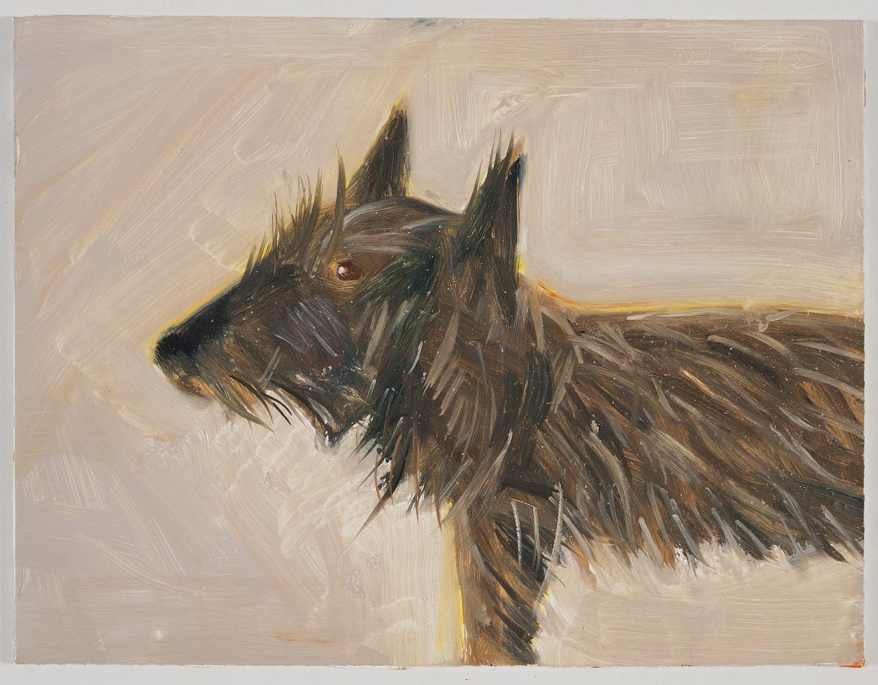 Alex Katz, Untitled (Dog), 2012 Oil on board, 22,9 x 30,5 cm, Copyright Alex Katz / VG Bild-Kunst, Bonn 2019, Courtesy Galerie Klueser