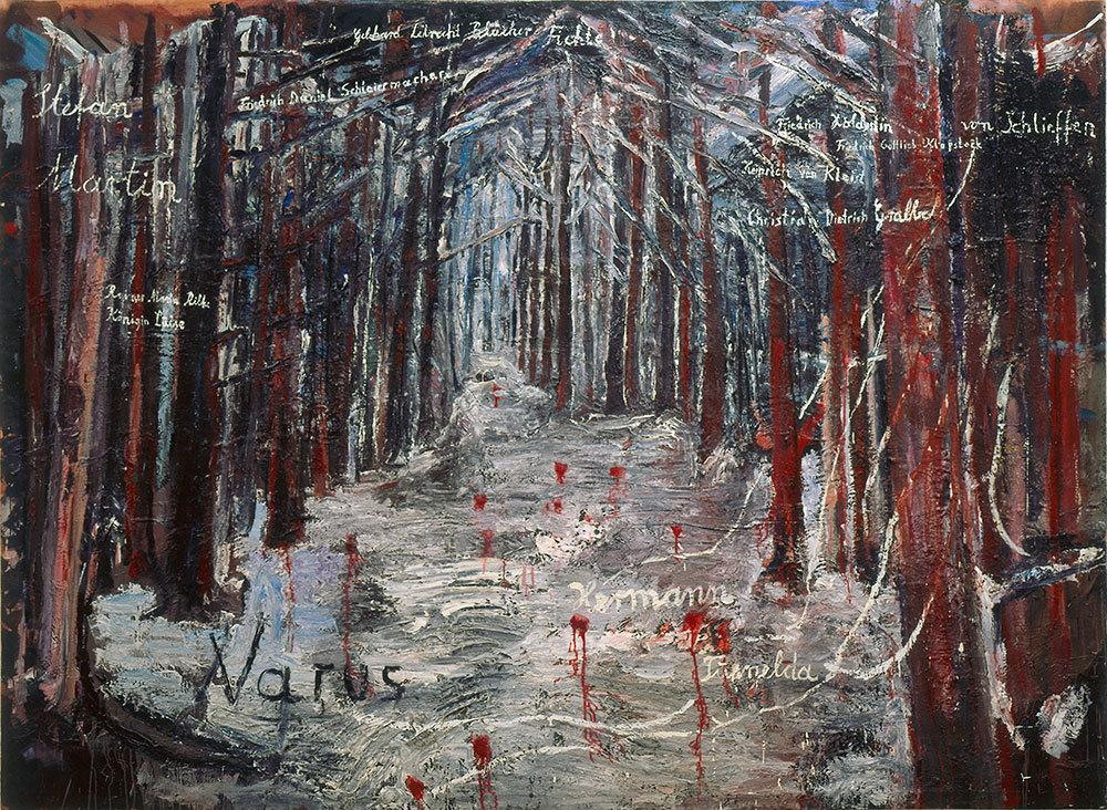 "Anselm Kiefer Varus  (1976) In Book 2  Knausgård writes about the painting: ""It's the greatest work of art since the war, perhaps in the whole of the previous century."""